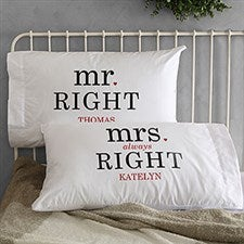 Mr & Mrs Right Personalized Pillowcases - 19416