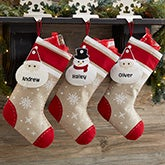 Personalized Christmas Button Stockings - 19421