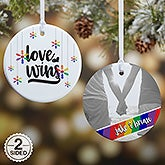 Personalized Gay Pride Ornament - Love Wins - 19447