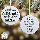 Personalized Teacher Ornament - It Takes A Big Heart - 19501