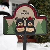 Personalized Garden Sign - Black Bear Family - 19523