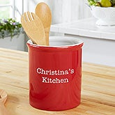 Personalized Kitchen Utensil Holder - Classic Red - 19527