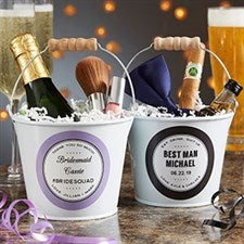 Wedding Party Favor Personalized Mini Metal Bucket - 19578