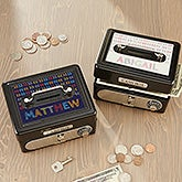 Stencil Name Personalized Cash Box  - 19584