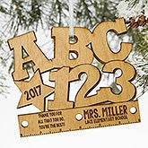 ABC & 123 Personalized Teacher Ornament - 19590