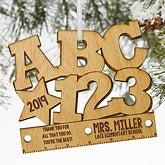 ABC & 123 Personalized Teacher Ornament - 19590