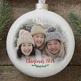 Personalized Slim Globe Photo Christmas Ornament - Holly Branch - 19597