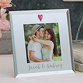 Personalized Glass Mini Frame - Romantic Heart - 19618