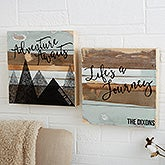 Personalized Reclaimed Wood Wall Art - Adventure Awaits - 19698
