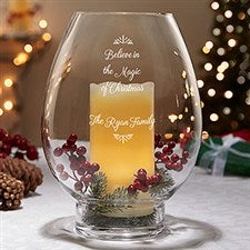 Engraved Hurricane Candle Holder - Holiday Message - 19733