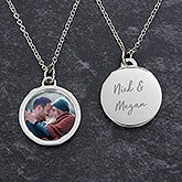 Engraved Personalized Couples Photo Pendant Necklace - 19738
