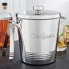 Personalized Engraved Ice Bucket & Tongs - Top Shelf - 19776