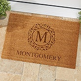 Circle & Vine Monogram Personalized Coir Doormat - 19815
