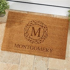 Personalized Coir Doormat - Circle & Vine Monogram - 19815