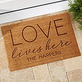 Custom Personalized Coir Doormat - Love Lives Here - 19823