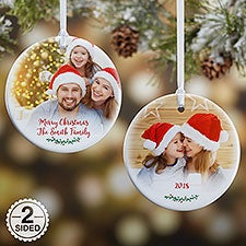 Personalized Family Photo Ornament - Holly Branch - 19827