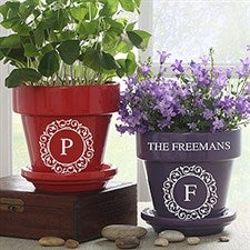 Custom Monogram Flower Pot - Circle & Vine - 19989