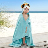 Embroidered Shark Kids Hooded Beach Towel - 20075