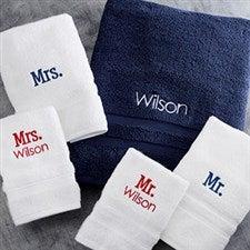 Personalized Wamsutta MicroCotton Towels - Mr & Mrs - 20086