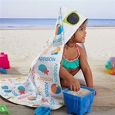Personalized Hooded Towel - Beach Fun - 20116