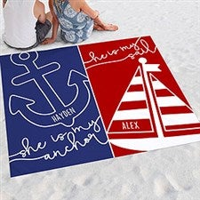 Personalized Couple Beach Blanket - Sail & Anchor - 20140