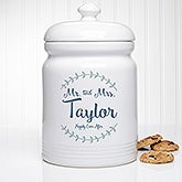 Personalized Cookie Jar - Mr & Mrs Laurel Leaf - 20145