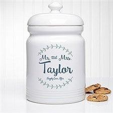 Personalized Cookie Jar - Mr & Mrs Laurel Leaf - 20145