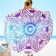 Mandala Personalized Round Beach Towel - 20146