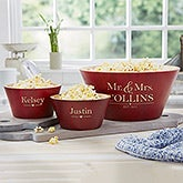 Personalized Red Bamboo Bowls - Wedding Couple - 20149