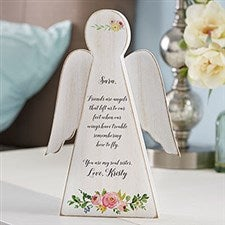 Floral Friendship Personalized Wood Angel - 20167