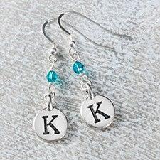 Personalized Dangle Initial & Birthstone Earrings - 20241D