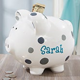 Personalized Piggy Bank - Grey Polka Dot - 20246