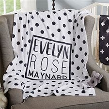Personalized Baby Blankets - Modern Black & White - 20248