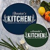Personalized Round Glass Cutting Boards - Her Kitchen - 20468
