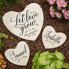 Personalized Heart Garden Stones - Let Love Grow - 20471