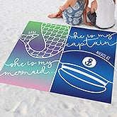 Personalized Couple Beach Blanket - Mermaid & Captain - 20571