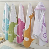 Personalized Hooded Towels - Baby Zoo Animals - 20613