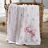 Personalized Floral Muslin Baby Blanket - 20909