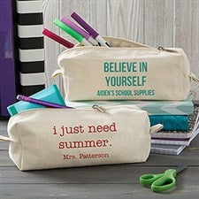 Personalized Canvas Pencil Case - Add Any Text - 20913