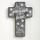 Paw Prints On My Heart Personalized Wall Cross - 20956