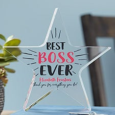 Personalized Best Boss Ever Award Star - 20957
