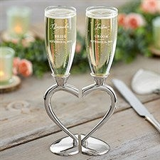 Personalized Wedding Flutes - Connected Hearts - 21109