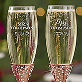 Radiant Rose Gold Etched Wedding Champagne Flutes - 21110