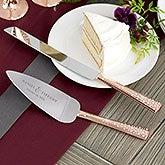 Rose Gold Engraved Cake Knife & Server Set - 21113