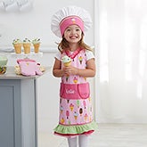 Embroidered Kids' Apron Set - Ice Cream Apron - 21139