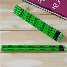 Personalized Pencils - Neon Green - Set of 12 - 21147