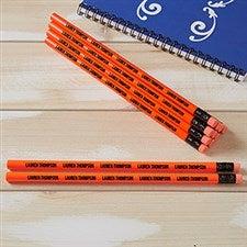 Personalized Pencils - Neon Orange - Set of 12 - 21149