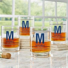 Monogram & Name Personalized Whiskey Glasses - 21156