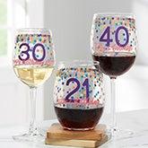 Confetti Cheers Personalized Birthday Wine Glasses - 21157