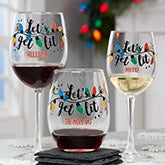 Let's Get Lit Personalized Christmas Wine Glasses - 21161